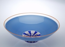 Bowl - Incalmo - Stratus and Clear / Cobalt and Orange Ribbon Cane / Orange Lip